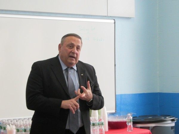 Gov. Paul LePage speaks on Feb. 14, 2014 about the new intensive mental health unit at the Maine State Prison.