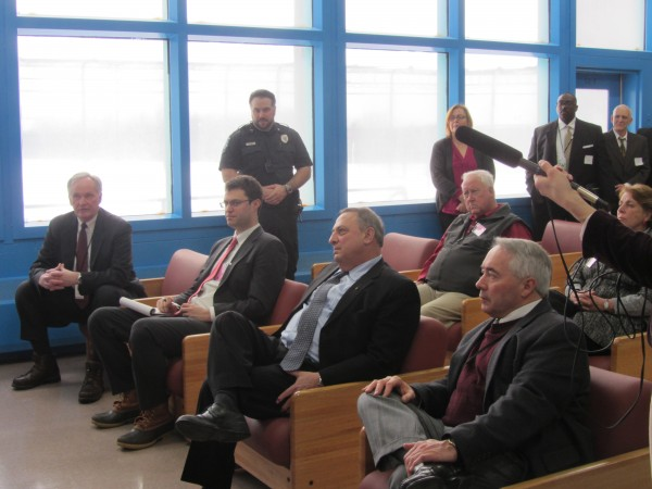 Commissioner Joseph Ponte (left) and Gov. Paul LePage (center, seated) were among the state officials attending an open house Friday afternoon at the Maine State Prison.