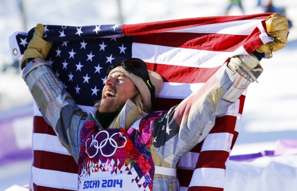 Winner Sage Kotsenburg of the U.S. celebrates after the men's snowboard slopestyle final competition at the 2014 Sochi Olympic Games in Rosa Khutor on Feb. 8, 2014.