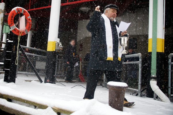 Father Jeff Monroe blesses  the M/V Wabanaki  at a chastening ceremony in Portland on Thursday.