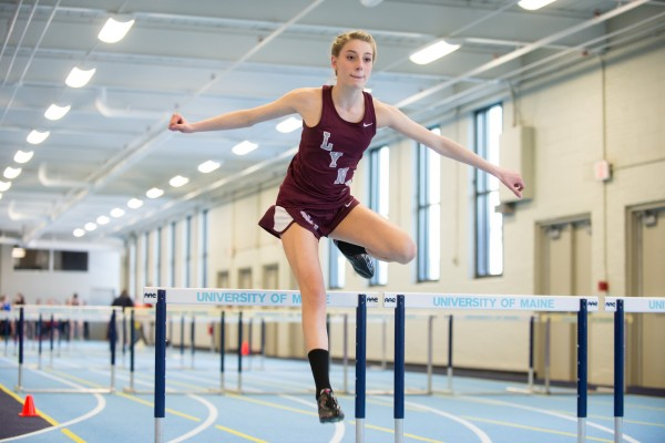 Taylor Wotton of Mattanawcook, hurdles in the 55 meter hurdles Saturday during the PVC Track and Field Championships held at the New Balance Field House in Orono.