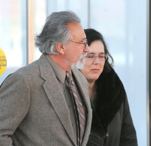 Jay Gus Conrad, 67, of Lakeland, Tenn. (left) leaves the Federal Building with his attorney, Virginia Villa, in Bangor in this January 2014 file photo.