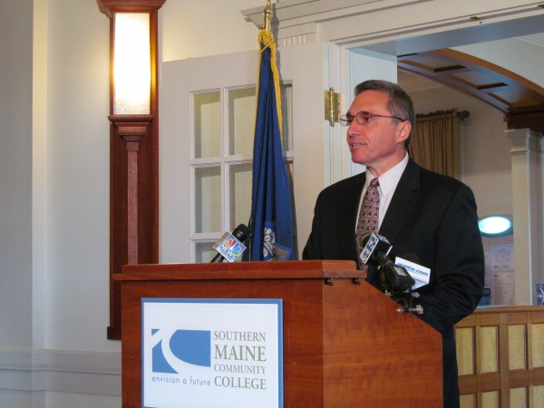 Southern Maine Community College President Ronald Cantor addresses the media Monday morning, Sept. 17, 2012.