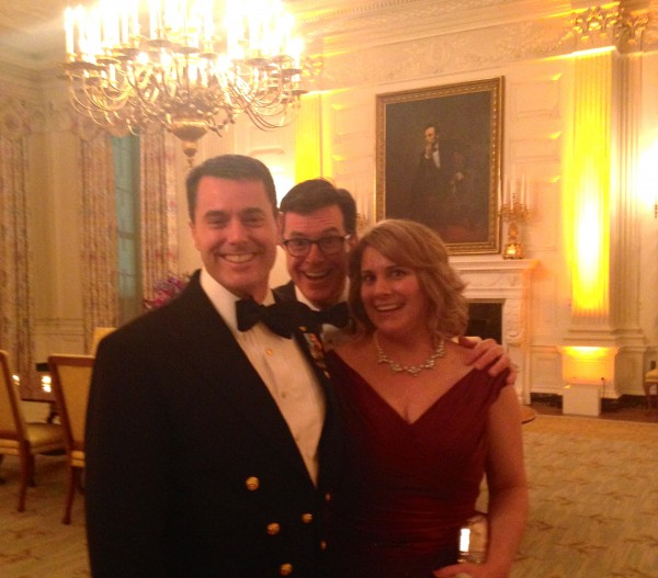 Dustin and Sarah Smiley with comedian and talk show host Stephen Colbert (center) at the White House State Dinner for French President Francois Hollande.