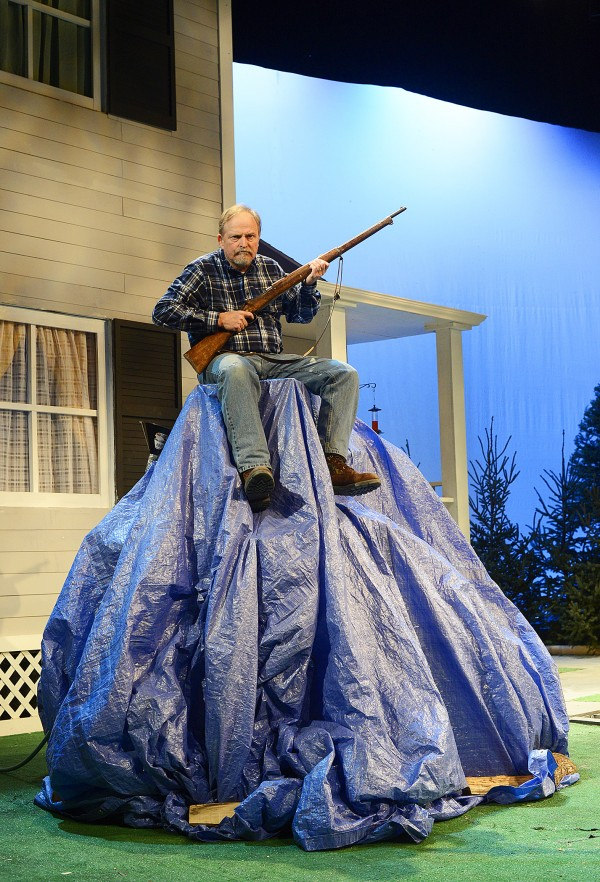Tom Mikotowicz stars as ornery homeowner David, defending his Maine way of life in &quotOne Blue Tarp,&quot at Penobscot Theatre through Feb. 16.