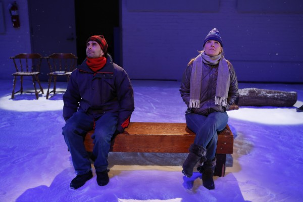 John Cariani and Kelly McAndrew contemplate their place in the universe in a scene from the first off-Broadway revival of Cariani's romantic comedy &quotAlmost, Maine&quot playing Jan. 21 to March 2 in New York City.
