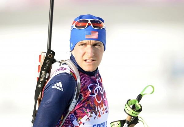 Russell Currier of Stockholm, Maine during the men's individual biathlon of the Sochi 2014 Olympic Winter Games at Laura Cross-Country Ski and Biathlon Center.