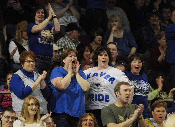 Fans cheer on their team as Washburn defeats Van Buren for the Class D Eastern Maine trophy on Saturday at the Cross Insurance Center in Bangor.