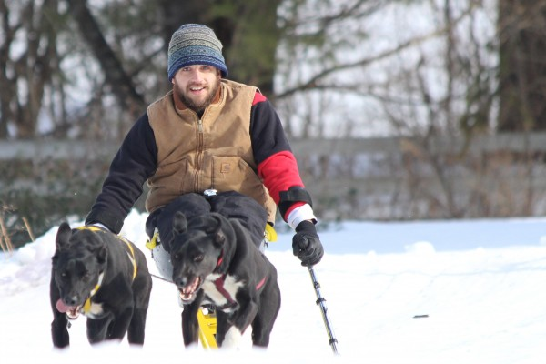 Joe Albee, 27, of East Vassalboro experiments with &quotmonoskijoring&quot at Heywood Kennel Sled Dog Adventures on Feb. 24, 2014, in Augusta.