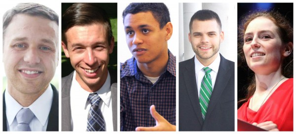 The Maine Republican Party hopes an effort to highlight youth leaders will bring more Millennials into the GOP. From left to right: State Sen. Garrett Mason, R-Lisbon, 28; 1st Congressional District candidate Isaac Misiuk of Gorham, 25; RSU 34 committee member Lee Jackson, 19; Assistant House Minority Leader Alex Willette, R-Mapleton, 24; and Republican National Committee member Ashley Ryan, 22.