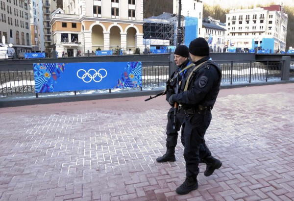 Russian security forces patrol the streets as preparations continue for the 2014 Sochi Winter Olympics in Rosa Khutor in this February 2014 file photo.
