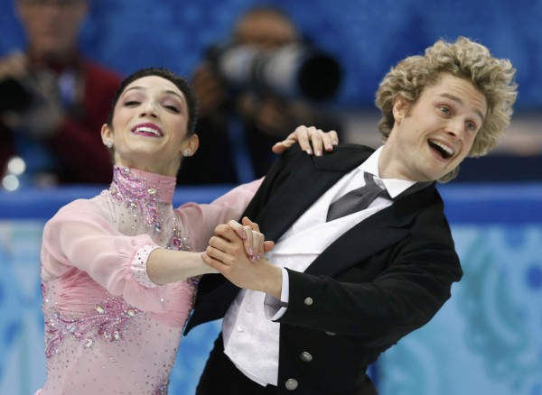 Meryl Davis (left) and Charlie White of the U.S. compete during the team ice dance short dance at the Sochi 2014 Winter Olympics on Feb. 8, 2014.