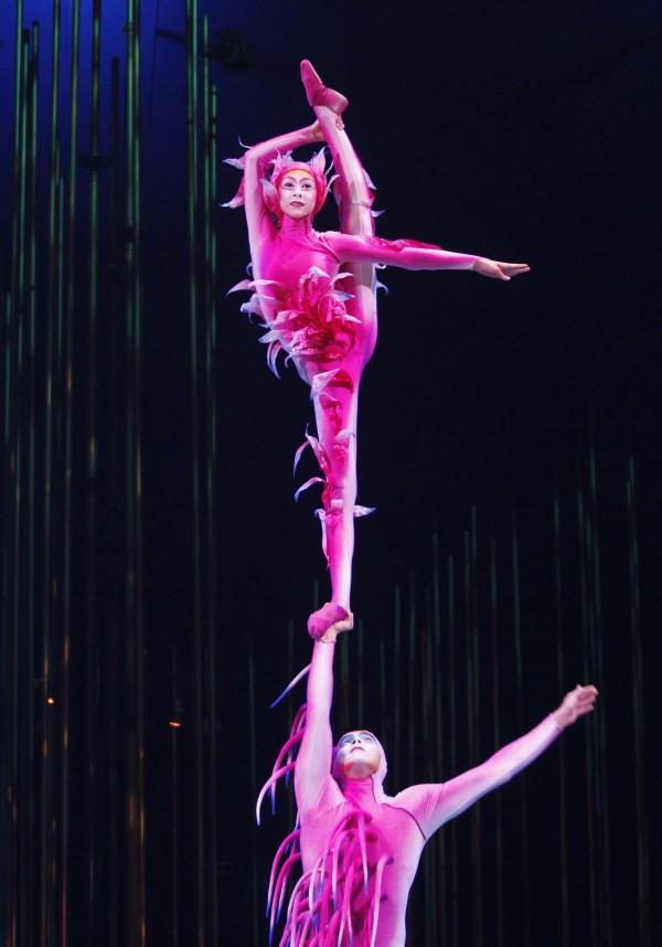 Artists perform during Cirque du Soleil's Varekai show in Lima, Jan. 16, 2013.