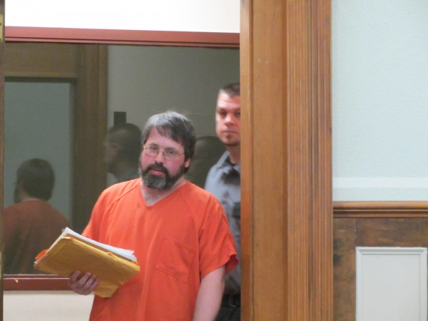 Andrew J. Kierstead is led into the Knox County Superior Court on Tuesday morning. He was sentenced to 45 years in prison for the murder of Richard L. Mills.
