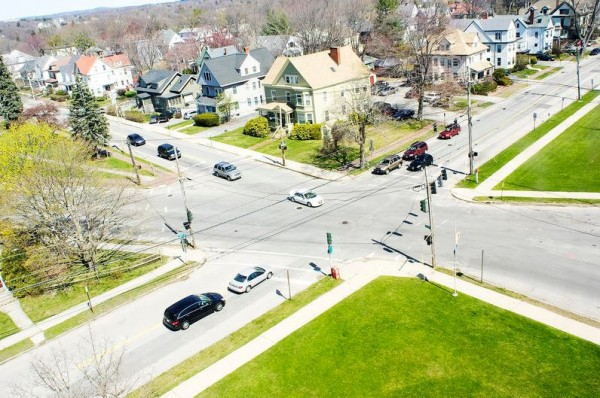 Portland planners are proposing two designs for rerouting traffic around the intersection of Falmouth Street and Deering and Brighton avenues, seen here from the University of Maine School of Law.