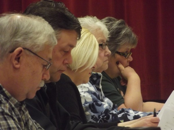 Members of SAD 37 board of directors during a meeting in Milbridge on Wednesday night.