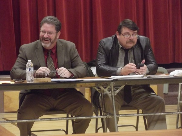 Everett Grant (left) of Addison, chairman of the SAD 37 board of directors, and Superintendent Ronald Ramsay are shown during board meeting in Milbridge on Wednesday night.