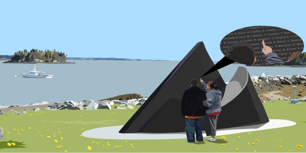Illustration depicts what the finished Lost Fishermen's Memorial would look like when placed in Lubec.