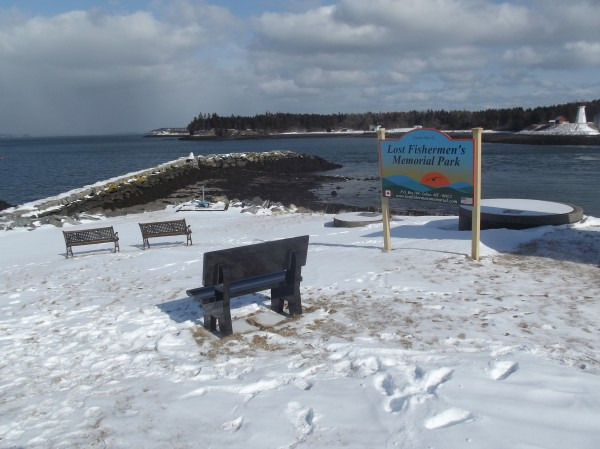 Site where the Lost Fishermen's Memorial will be placed on the waterfront in Lubec, overlooking Lubec Narrows and Campobello Island, Canada.