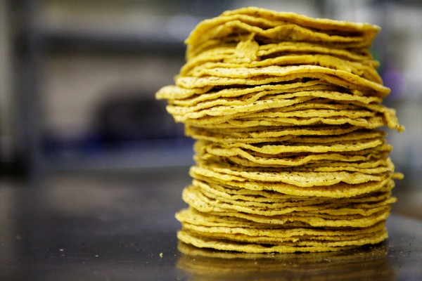 A stack of tortillas waits to be wrapped at Tortilleria Pachanga in Portland on Thursday. Lynne Rowe started the business with $15,000 from a crowdfunding and a $15,000 loan from Portland Economic Development Corp.