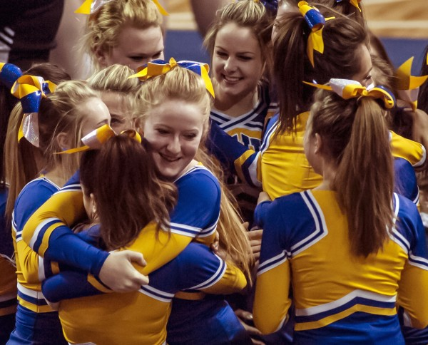 The Hermon girls react after winning first place in the Class B cheering competition at the Cross Center in Bangor on Jan. 25.