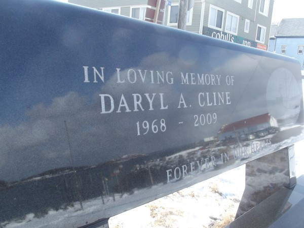 Contributors to the Lost Fishermen's Memorial also may donate funds for additional black granite benches at the park. This bench is dedicated to Daryl Cline of Machiasport, who was lost at sea in October 2009 when the fishing vessel he was on sank in Cobscook Bay.