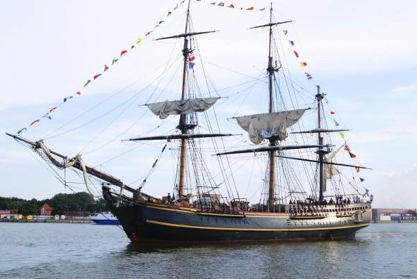 The replica HMS Bounty tall ship is shown in this August, 2011 handout photo supplied by HMS Bounty Organization LLC on her European Tour 2011 while in Swinoujescie, Poland.