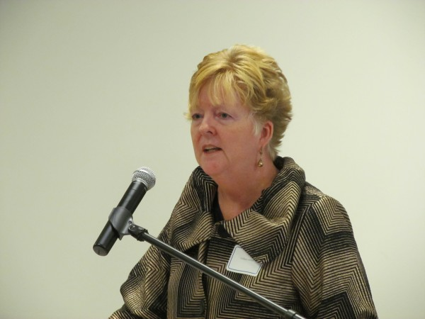 Westbrook Mayor Colleen Hilton welcomes Husson University to her city Tuesday during a ribbon-cutting ceremony for the school's new southern Maine campus. Students began attending classes at the 340 County Road facility about two weeks ago.