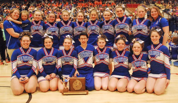 The Central Aroostook High School Panthers cheering squad were Class D state champions in Augusta on Saturday.