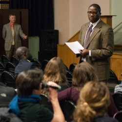 Portland Public Schools Superintendent Emmanuel Caulk addresses a modest crowd Thursday at King Middle School during the district's first town hall-style budget meeting.