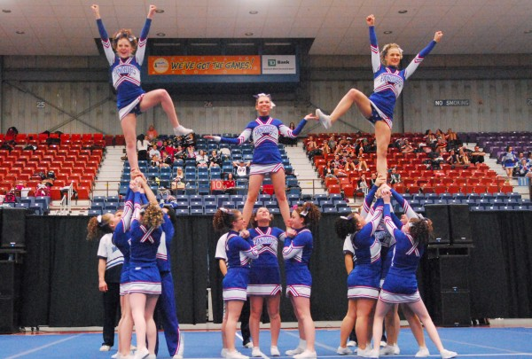 The Central Aroostook High School Panthers cheering squad performs one of their routines in Augusta on Saturday.