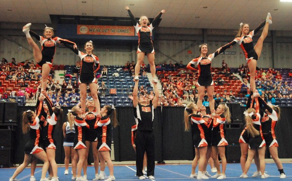 The Biddeford High School Tigers perform a routine at the Augusta Civic Center on Saturday. Biddeford won the Class A cheering title.