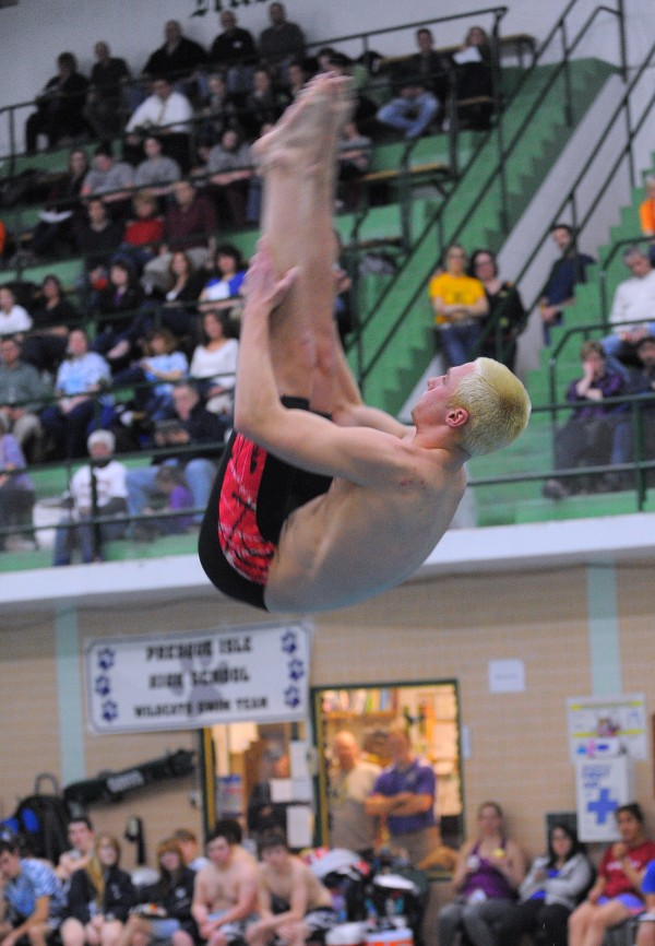 Bangor High School's Grant Lufkin won the diving competition during the PVC Swimming and Diving Championship at Husson University in Bangor on Friday.