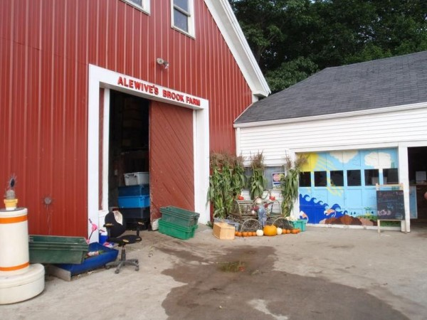 The farm stand (right) and barn at Alewive's Brook Farm in Cape Elizabeth. The Jordan family hopes to raise $20,000 to modernize the stand.