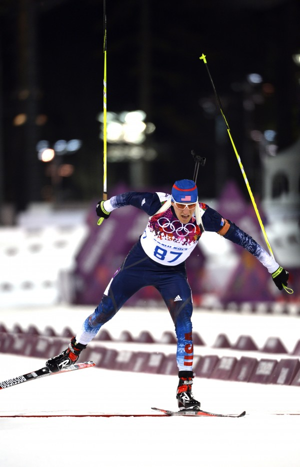 Stockholm, Maine, native Russell Currier competes in the 10-kilometer biathlon during the Sochi 2014 Olympic Winter Games at Laura Cross-Country Ski and Biathlon Center.