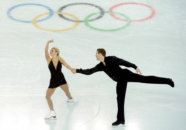 Kirsten Moore-Towers and Dylan Moscovitch perform in the team pairs free skate program during the Sochi 2014 Olympic Winter Games on Saturday.