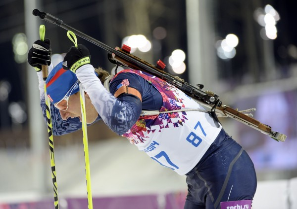 Stockholm, Maine, native Russell Currier finishes the 10-kilometer biathlon during the Sochi 2014 Olympic Winter Games at Laura Cross-Country Ski and Biathlon Center.