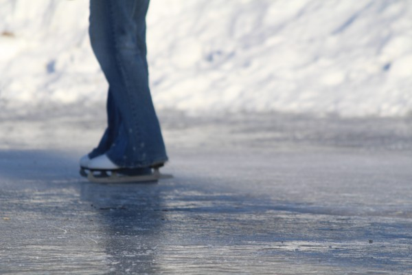 Amy Jones, 18, of Bangor, skates around the perimeter of the ice rink at Broadway Park in Bangor on Jan. 30, 2014.