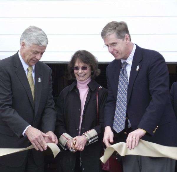 In this April 2011 file phot, Congressman Mike Michaud, left, joins Mary Smith and Tim Crowley, president of NMCC, in cutting a ribbon  to officially open the Northern Maine Center for Excellence in Alternative Energy Training and Education. Smith recently donated a major gift to the Maine Winter Sports Center.