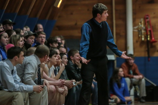 Easton High School boys basketball coach Dillon Kingsbury reacts to a foul called on one of his players during a game against Central Aroostook on Jan. 30 in Mars Hill.