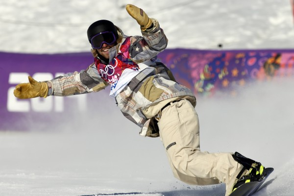 Sage Kotsenburg of the U.S. reacts during men's slopestyle finals at the Sochi 2014 Olympic Winter Games on Saturday. Kotsenburg won gold.