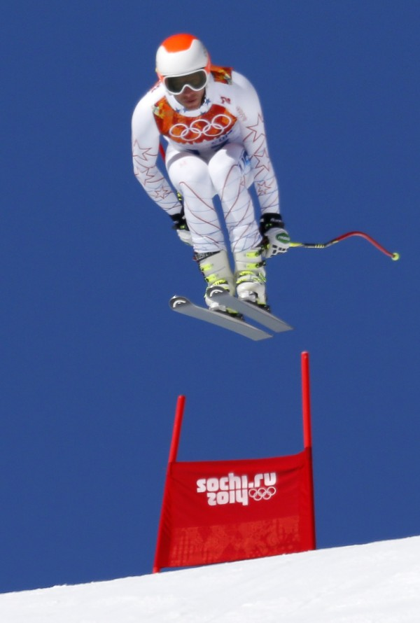 Bode Miller of the U.S. goes airborne in the first training session for the men's alpine skiing downhill event during the 2014 Sochi Winter Olympics at the Rosa Khutor Alpine Center February 6, 2014