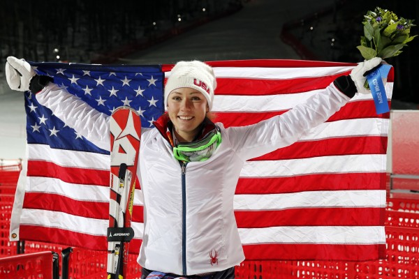 Mikaela Shiffrin of the U.S. celebrates winning gold in ladies' alpine skiing slalom during the Sochi 2014 Olympic Winter Games at Rosa Khutor Alpine Center on Friday.