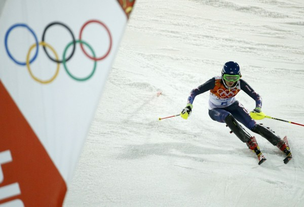 Mikaela Shiffrin of the U.S. competes during the second run of the women's alpine skiing slalom event at the 2014 Sochi Winter Olympics on Friday.