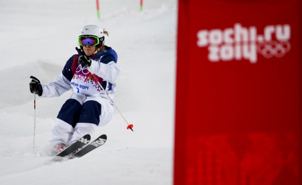 Hannah Kearney of the U.S. competes during the women's freestyle skiing moguls final competition at the 2014 Sochi Winter Olympic Games in Rosa Khutor on Saturday. Kearney won the bronze medal.