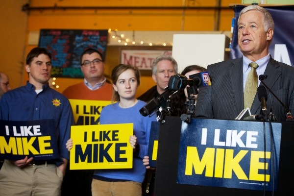 U.S. Rep. and Democratic gubernatorial candidate Mike Michaud speaks about his plan to build Maine's economy during a campaign event at Portland's Rosemont Market on Wednesday.