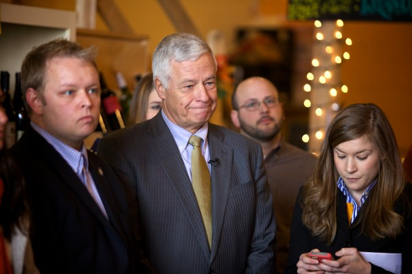U.S. Rep. and Democratic gubernatorial candidate Mike Michaud smiles while being introduced at a campaign event at Portland's Rosemont Market on Wednesday.