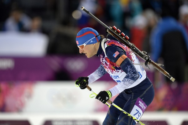 Russell Currier during the men's individual biathlon of the Sochi 2014 Olympic Winter Games at Laura Cross-Country Ski and Biathlon Center.