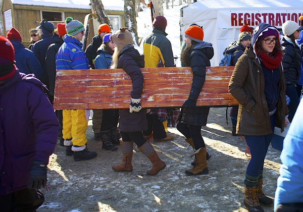 Hundreds of spectators and toboggan racers attended the 24th Annual U.S. National Toboggan Championships in Camden on Saturday. The event continues Sunday.