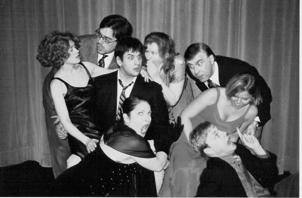 A February 2003 file photo of the cast members of the Ten Bucks Theatre production &quotRumors on Valentine's Day.&quot Starting in back, from left, Tamela Glenn, Allen Adams, Anthony Pizzuto, Julie Arnold Lisnet, Peter Carriveau and Sarah Templeton, and (front, from left) AJ Mooney, Bob Libbey.